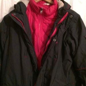 Land's End 3-in-1 Hooded Parka Vest Jacket